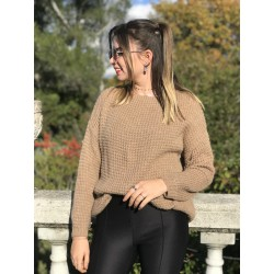 PULL maille fantaisie taupe MELYA