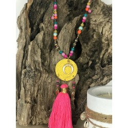 COLLIER pompon rond jaune MELLY