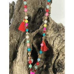 COLLIER pompons rouge MOLLIE