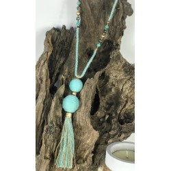 COLLIER boules pompons turquoise NAYA